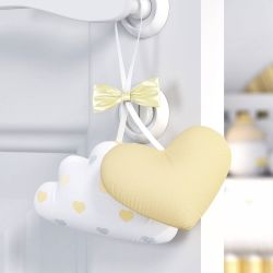 Enfeite para Puxador Nuvem e Coração Amarelo