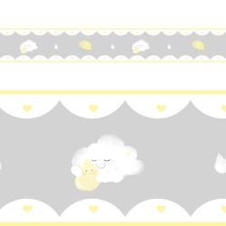 Faixa Adesiva de Parede Aquarela Chuva de Amor Cinza/Amarelo