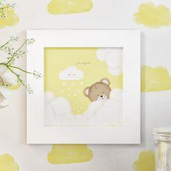 Quadro Ursinha nas Nuvens Amarelo 20cm