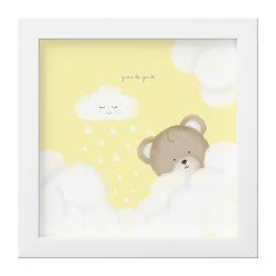 Quadro Ursinha nas Nuvens Amarelo
