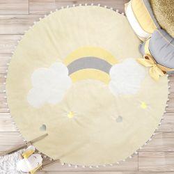 Tapete Redondo Pompom Arco-Íris 90cm Amarelo