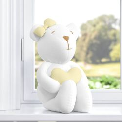 Ursa com Coração Branco/Amarelo 42cm