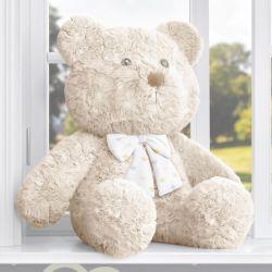 Urso Bege com Laço Corações Amarelo 52cm