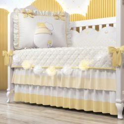 Varal Decorativo Bolinhas de Tule Amarelo 1,30m