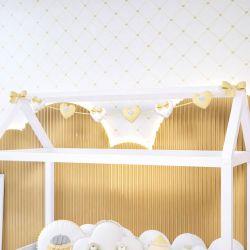 Varal Decorativo Corações Amarelo 1,60m