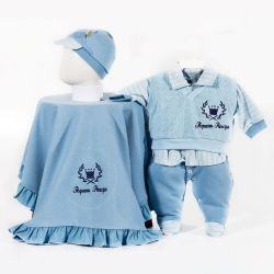 Saída Maternidade Suedine Pequeno Príncipe Azul