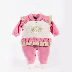 Macacão Longo Suedine Princesa Coroada Pink