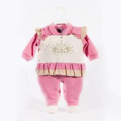 Macacão Prematuro Longo Suedine Princesa Coroada Pink
