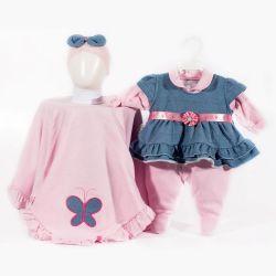 Saída Maternidade Suedine Borboletinha Jeans