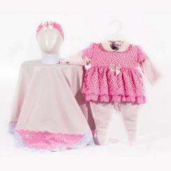Saída Maternidade Suedine Coraçõezinhos Rosa