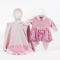 Saída Maternidade Suedine Renda e Flores