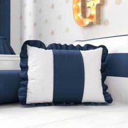 Almofada com Babado Azul Marinho