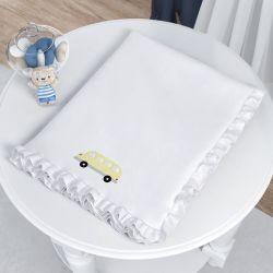 Cobertor Ônibus Ursinho Bebê Azul Marinho