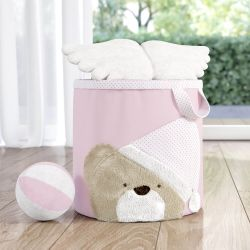 Cesto Organizador para Brinquedos Rosa Clássico 32cm