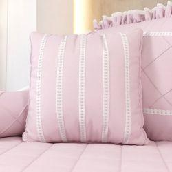 Almofada Listras Rosa Clássico 38cm