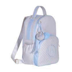 Mochila Maternidade Ursinho Cinza/Azul