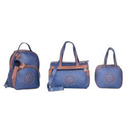 Conjunto de Bolsas Maternidade Ursinho Azul Marinho/Caramelo