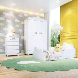 Quarto Infantil Nuvem com Mini Cama/Cômoda/Guarda-Roupa de 4 Portas