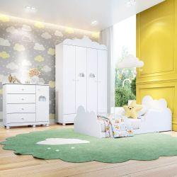 Quarto Infantil Nuvem com Mini Cama/Cômoda 1 Porta/Guarda-Roupa de 4 Portas