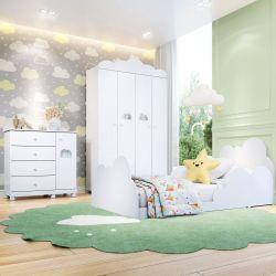 Quarto Infantil Nuvem com Cama/Cômoda 1 Porta/Guarda-Roupa de 4 Portas