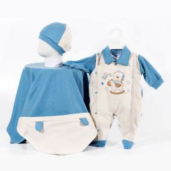Saída Maternidade Suedine Ursinho no Cavalinho Azul Marinho