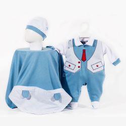 Saída Maternidade Suedine Gravatinha Azul Marinho