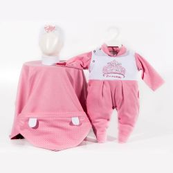 Saída Maternidade Suedine Princesa Pink Poá