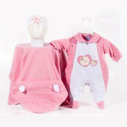 Saída Maternidade Suedine Mamãe Ursinha Pink