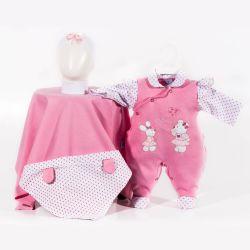 Saída Maternidade Suedine Coelhinha e Ursinha Pink