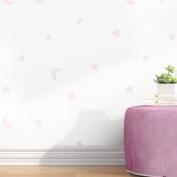 Papel de Parede Lua e Estrelas Rosa 3m