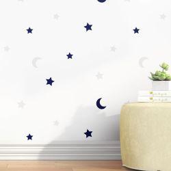 Papel de Parede Lua e Estrelas Azul Marinho 3m