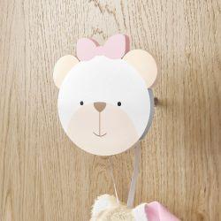 Cabideiro de Parede Urso Rosa Clássico