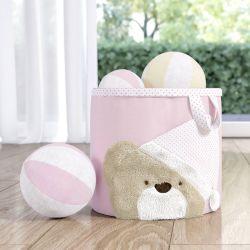Cesto Organizador para Brinquedos Rosa Clássico 22cm