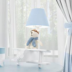 Abajur Urso Aviador Azul Bebê