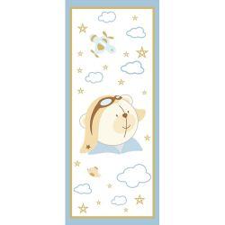 Adesivo de Porta Urso Aviador Azul Bebê