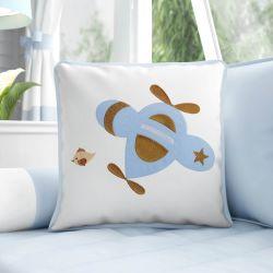 Almofada Bordada Urso Aviador Azul Bebê