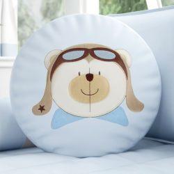 Almofada Redonda Urso Aviador Azul Bebê