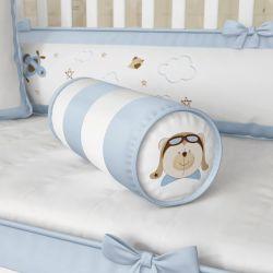 Almofada Rolinho Urso Aviador Azul Bebê 40cm