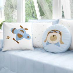 Almofadas Urso Aviador Azul Bebê 3 Peças