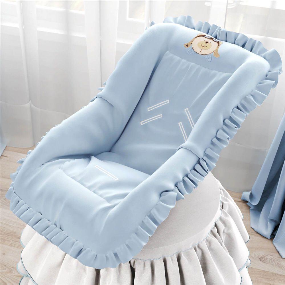 Capa de Bebê Conforto Urso Aviador Azul Bebê Grão de Gente