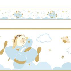Faixa Adesiva de Parede Urso Aviador Azul Bebê