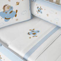 Jogo de Lençol Berço Urso Aviador Azul Bebê