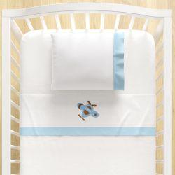 Jogo Lençol de Berço Bordado Urso Aviador Azul Bebê 3 peças
