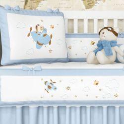 Kit Berço Urso Aviador Azul Bebê