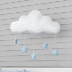 Móbile Nuvem Pompom Azul Bebê