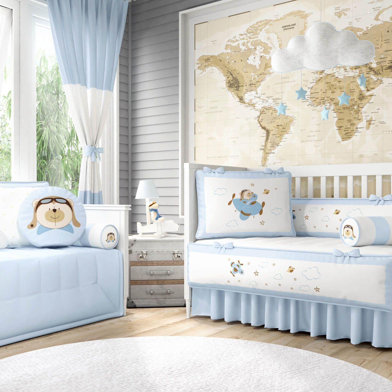 46b21f2fb Quarto de Bebê Urso Aviador Azul Bebê | Grão de Gente