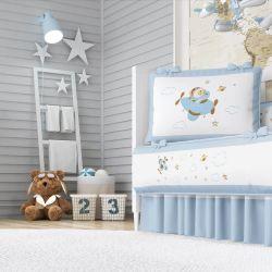 Quarto de Bebê Urso Aviador Azul Bebê 17 Peças