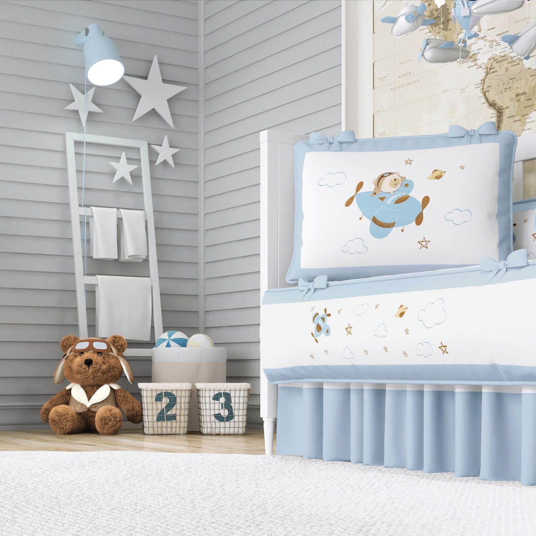 8139e2de7 Quarto de Bebê Urso Aviador Azul Bebê 20 Peças | Grão de Gente