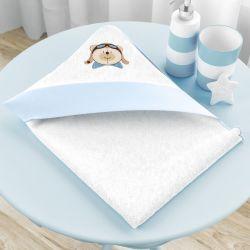 Toalha com Capuz Urso Aviador Azul Bebê