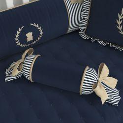 Almofada Apoio Bala Luxo Azul Marinho 60cm